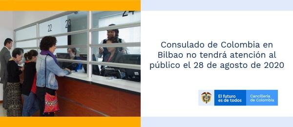 Consulado de Colombia en Bilbao no tendrá atención al público el 28 de agosto de 2020