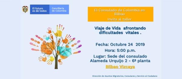 El Consulado de Colombia en Bilbao invita al taller 'Viaje de vida afrontando dificultades vitales', el 24 de octubre de 2019