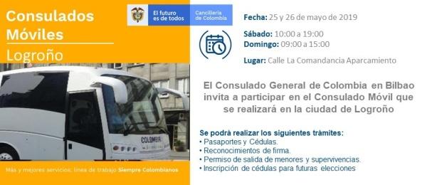 Consulado de Colombia en Bilbao invita a la jornada de Consulado Móvil en Logroño los días 25 y 26 de mayo de 2019