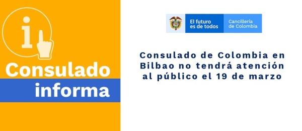 Consulado de Colombia en Bilbao no tendrá atención al público el 19 de marzo de 2020