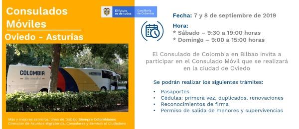 El Consulado de Colombia en Bilbao realizará la jornada móvil en Oviedo- Asturias el 7 y 8 de septiembre de 2019