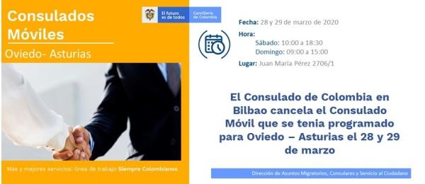 El Consulado de Colombia en Bilbao cancela el Consulado Móvil que se tenia programado para Oviedo – Asturias el 28 y 29 de marzo de 2020