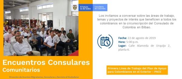 El Consulado de Colombia en Bilbao organiza el 22 de agosto de 2019 el Encuentro Consular Comunitario