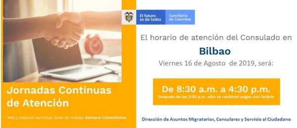 Jornada de Atención Continua el viernes 16 de agosto en el Consulado de Colombia