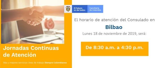 Consulado de Colombia en Bilbao realizará Jornada Continua de Atención el 18 de noviembre