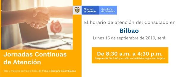 Jornada de Atención Continua el lunes 16 de septiembre en el Consulado de Colombia